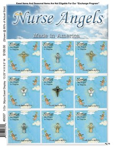 Picture of Nurse Angel Easel Display showing 12 cards and pins on an easel display with nurse angel graphics.